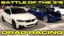 Battle of the 3s Tesla Model 3 Performance vs BMW M3 Competition 1 4 Mile Drag Racing VBOX Data