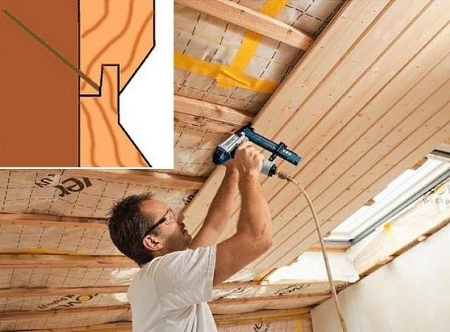 Как крепить вагонку на потолок.