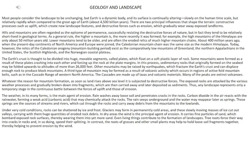 Toefl reading part 1 GEOLOGY AND LANDSCAPE