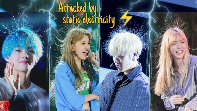 KPOP IDOLS Funny Static Hair Moments⚡😆 Bts Blackpink Exo Wanna One SJ Red velvet MonstaX Exid etc