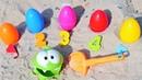 Bebek videosu. Om Nom sahilde renk oyunu ve sayı sayma oyunu oynuyor. Eğitici video.