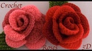 Como hacer rosas en 3D de dos colores tejidas con Gancho Crochet paso a paso tejido tallermanualperu