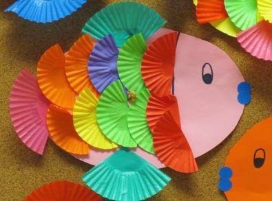 Поделка рыба бумажные корзиночки Такую простую, но красивую поделку рыбы можно сделать с дошкольниками 4-5 лет из бумаги и бумажных корзиночек от печенья. Корзиночки раскрашиваем в разные яркие