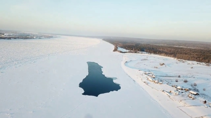 Видео с высоты:Ледовая переправа на р.Енисей