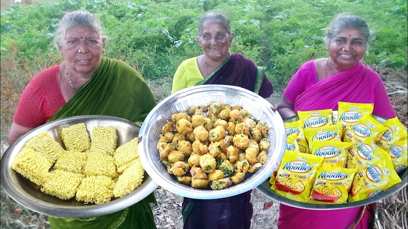 Maggi Noodles Pakoda Cooking By My Grandmas Maggi Recipe prepared for Kids Noodles Indian Style