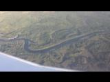 Окраины Воронежа при взлёте из иллюминатора самолета