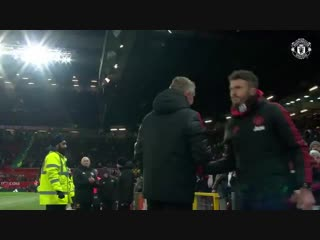 The full-time scenes after a dramatic finale at old trafford
