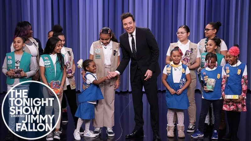 Jimmy Surprises Girl Scout Cookie Troop 6000 with a Big Cookie Purchase