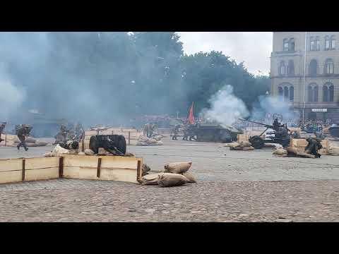 Реконструкция боя. 75 лет освобождения города Выборг. Победа
