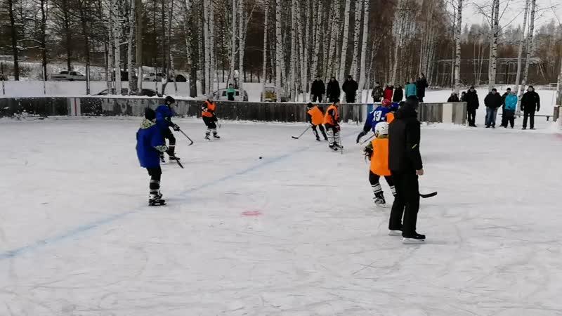 Товарищеская, встреча между юными хоккеистами из п. Борок и п. Волга