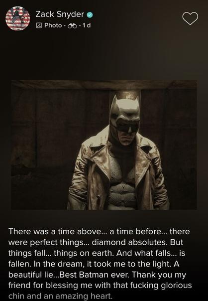 Зак Снайдер простился с Бэтменом Бена Аффлека Зак Снайдер опубликовал на своей странице в Vero прощальное письмо Бэтмену Бена Аффлека. «Это был лучший Бэтмен. Спасибо, что благословил меня своим