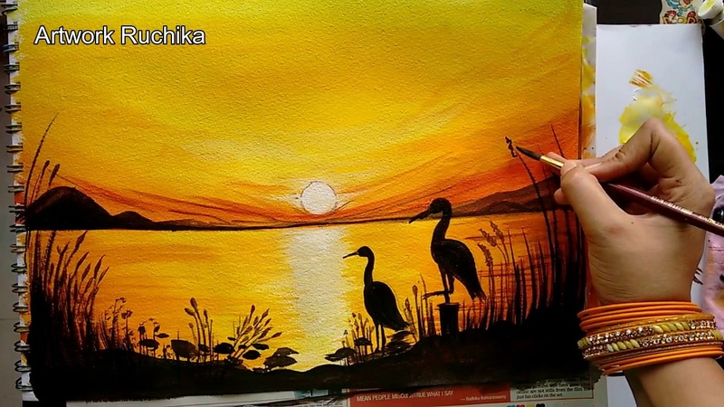 Early Morning Lake Scenery with Swan Pair | Acrylic Painting