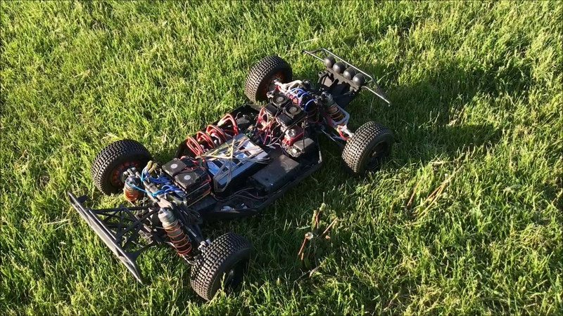 Losi 5 with Stealth electric In wheel motors tearing up grass