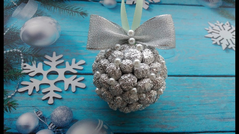 Новогодний шар на елку из фольги / Christmas ball of foil / Relógios bola de papel alumínio.
