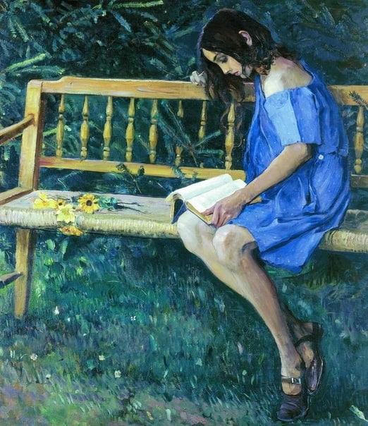 Михаил Васильевич Нестеров. Наташа Нестерова на садовой скамейке (дочь художника). 1914 год