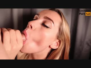 Blowjob from a pretty girl. сum flows and she sucks. cum mouth.