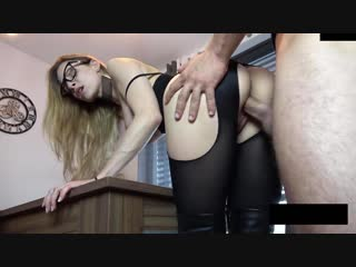 Long legged girl gets fucked in black nylon tights and boots