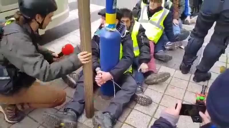 это Бельгия. Вот так полиция предложила членам ОПГ желтые жилеты вместо штурма парламента просто пройти курс лечения простаты. И вы только посмотрите, сколько сразу стало желающих! БРАВО! Вот так очком на горячий асфальт