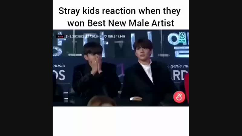 Stray kids' reastion for Best New Male Artist
