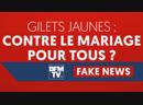 ALLER VOICI POUR VOUS LA FAKE-NEWS DU JOUR BFMTV ! LA PRINCIPALE REVENDICATION LES GILETS JAUNES INTERDIRE LE MARIAGE POUR TOUS