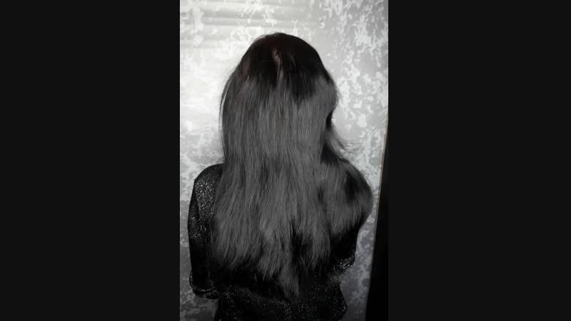 Наращивание светлых прядей Разбавили темный цвет волос и добавили густоты однотонное окрашивание