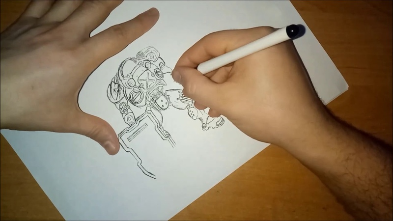 Drawing gel pen StarCraft marine.