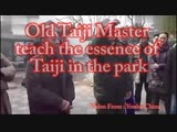 Old Taiji Master teach the essence of Taiji in the park(English and Chinese subtitles Version).
