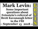 LEVIN Some important questions about Dianne Feinstein's referral of Brett Kavanaugh letter to FBI