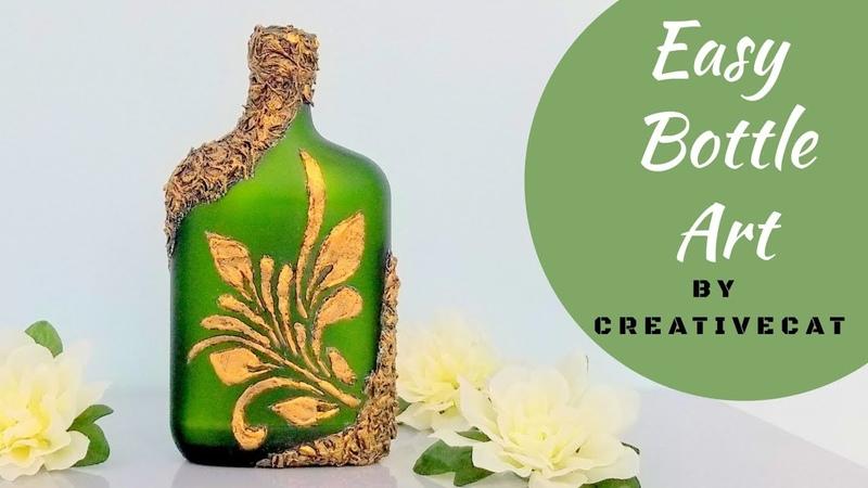 Bottle Art (Using DIY Stencil) Bottle DecorationWine Bottle artBottle Craft By CreativeCat