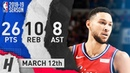 Ben Simmons Full Highlights 76ers vs Cavaliers 2019.03.12 - 26 Pts, 8 Ast, 10 Reb!