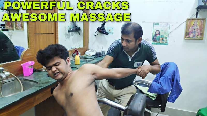 Powerful massage therapy by Asim barber   Indian head and body massage   ASMR