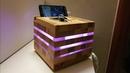 6 in 1.(carica e porta telefono,svuota tasche,luce notturna,abat jour, led RGB.)legno e plexiglas