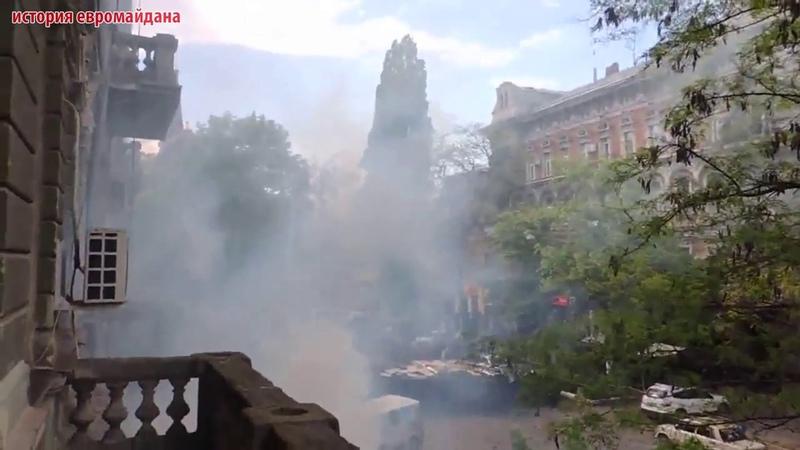 2 мая 2014 Одесса центр Столкновение антимайдана и евромайдана Вид с балкона