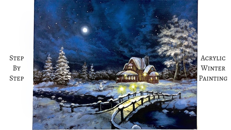 Snowy Winter Night STEP by STEP Acrylic Painting ColorByFeliks