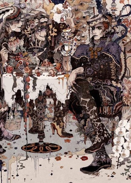 Акия Кагейчи - японский иллюстратор. Кагейчи рисует миры будущего, которые населены зловещими шутами, ленивыми правителями и тайными воинами. Представлены астрологические символы луны, что