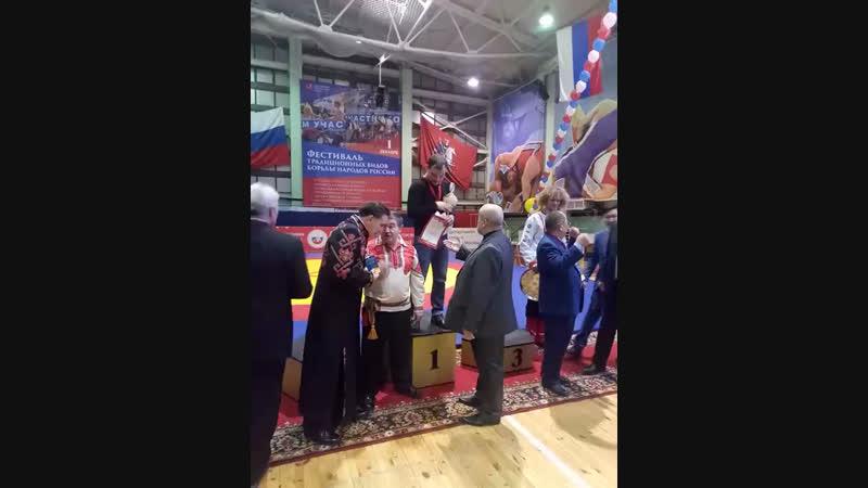 Награждение Усманова Марата(из-за того что Марат отсутствовал, его заменил брат Айрат)
