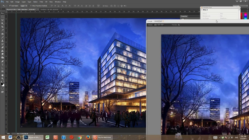 Photoshop architecture rendering tutorial night seane