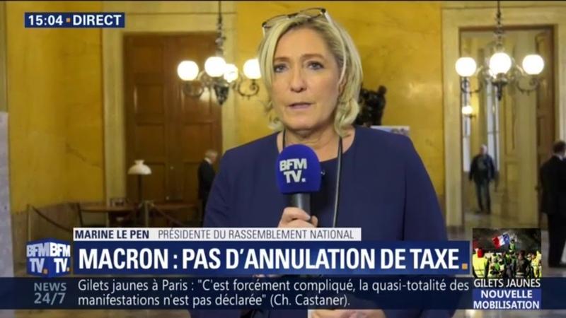 Gilets Jaunes: Marine Le Pen a le sentiment que le président n'a toujours rien compris