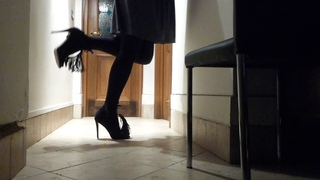 Fancy High Heel Sandals, Grey Skirt, Black Stockings, Walking and Showing Off