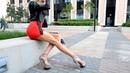 Fitness model Super Long Legs high Heels. Mini Dress.