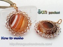 Sun pendant with big flat round stone no holes and small crystal 366