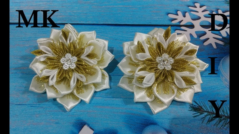 Бантики из лент 2,5 см МК Канзаши Bows made of 2.5 cm ribbons. Fitas de fitas