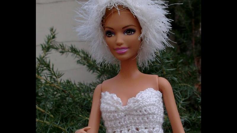 Как связать юбку-пачку.Белоснежный комплект одежды Белый лебедьдля Барби.