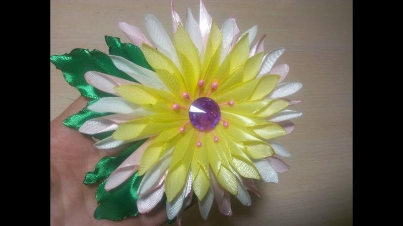 цветок канзаши \МК\DIY\kanzashi\satin ribbon decoration\satijnen lint decoratie