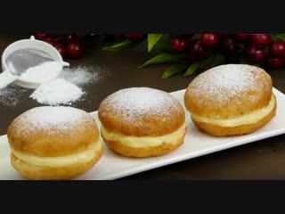 Рай для сладкоежек! Простой рецепт пышных пончиков с молочным, заварным кремом | Больше рецептов в группе Десертомания