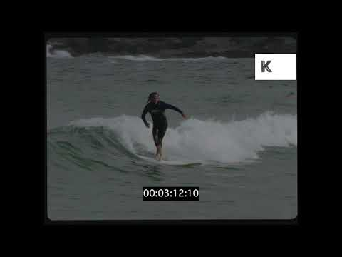 Surfing in Sydney Harbour, Sunny Beach, 1990s Australia, HD