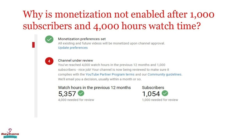 [Solved] Monetization not Enable After 1k subscribe 4k hours watch time completed.