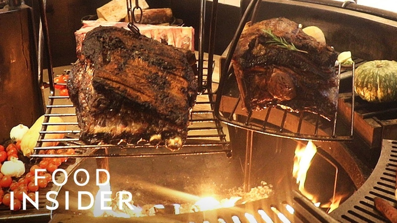 London Restaurant Cooks Whole Prime Ribs Over Indoor Fire Pit