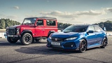 Honda Civc Type R vs Land Rover Defender Works V8 Top Gear Drag Races