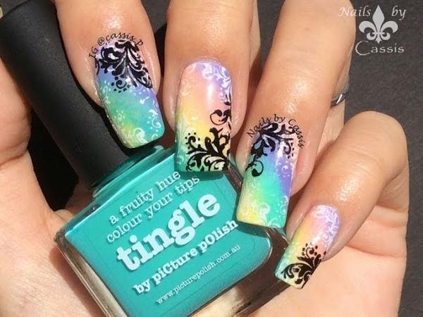 Swirl Rainbow Stamping Nail Art